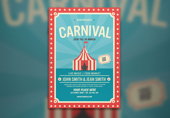 Carnival Flyer Layout with Tent Illustration