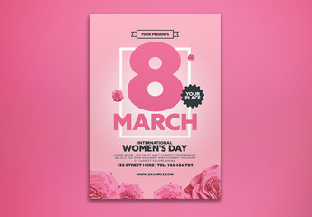 International Women's Day Event Flyer Layout with Pink Roses