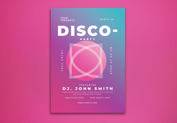 Disco Event Flyer Layout with Gradients