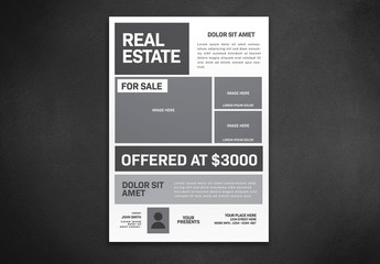Flyer Layout with Gray Elements and Photo Placeholders