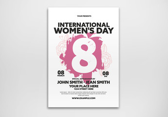 International Women's Day Event Flyer Layout with Pink Paint Stroke