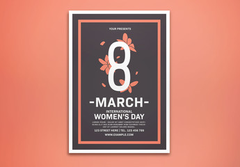 International Women's Day Event Flyer Layout with Pink Floral Elements