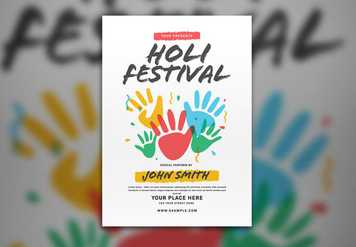 Holi Festival Flyer Layout with Handprints