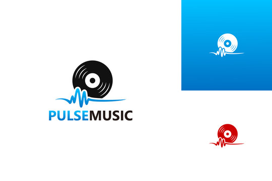 Pulse Music Logo Template Design Vector, Emblem, Design Concept, Creative Symbol, Icon
