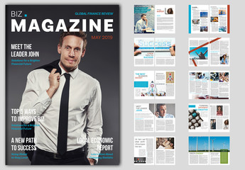 Business Magazine Layout with Blue and Red Accents