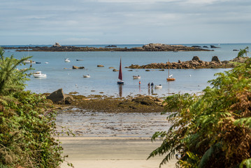 Sailing boats on the ocean in Callot island in brittany