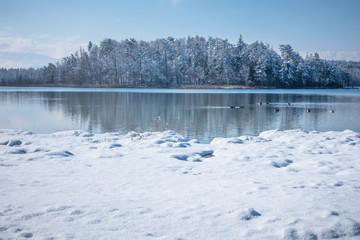 Lake Osterseen Bavaria Germany winter scenery