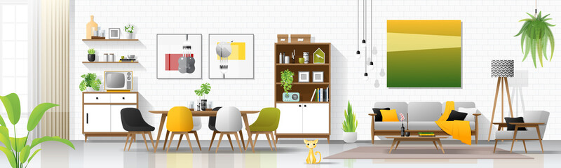 Modern house interior background with living and dining room combination , vector , illustration
