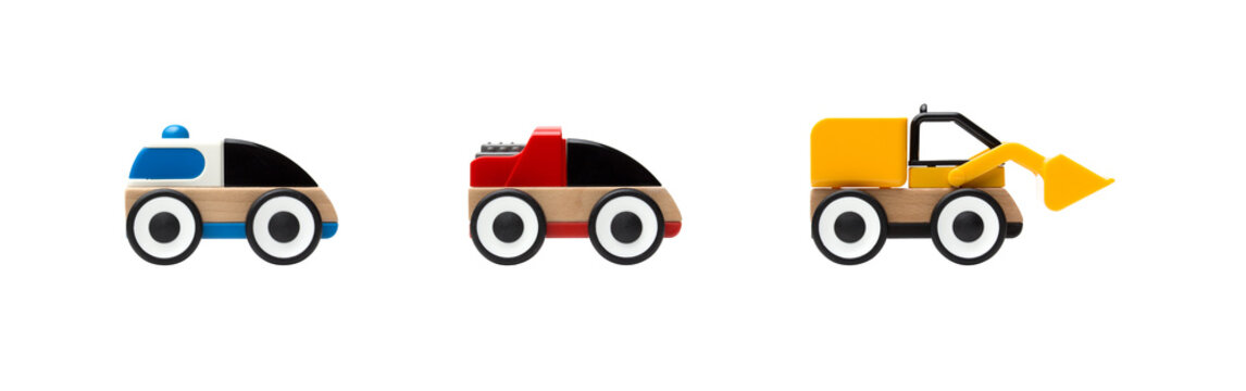 Wooden, plastic toy cars isolated on white background