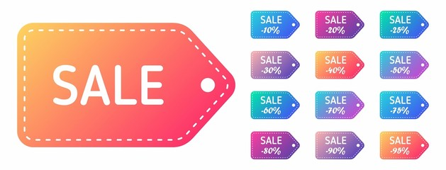 sale discount label set. discounts from 10 to 95 percent. sale color stickers. black friday shopping banner icons