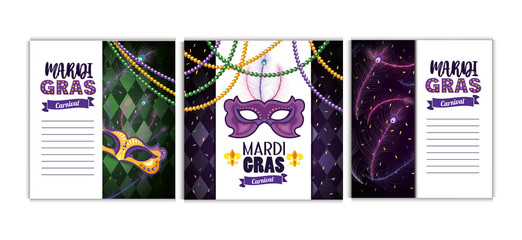 set mardi gras card with masks and necklace balls