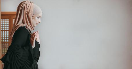 Muslim girl pray in mosque