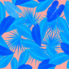 Tropical blue vector seamless pattern on living coral color background.