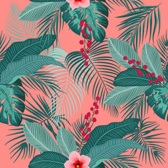Tropical vector seamless pattern on living coral color background.