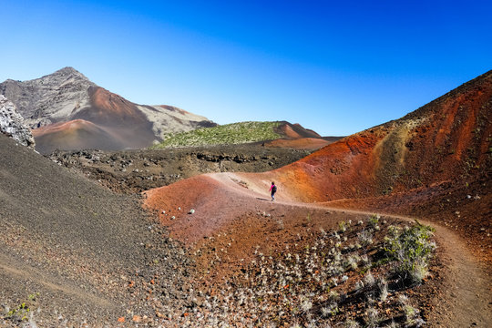 Hiking in the Colorful desert of Haleakala National Park, Maui, Hawaii