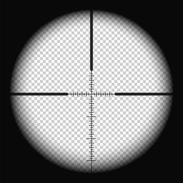 Realistic sniper scope with measurement marks. Transparent vector illustration