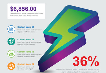 Infographic Layout with 3D Lightning Bolt Illustration