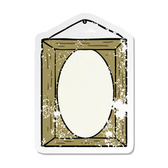 distressed sticker of a picture frame