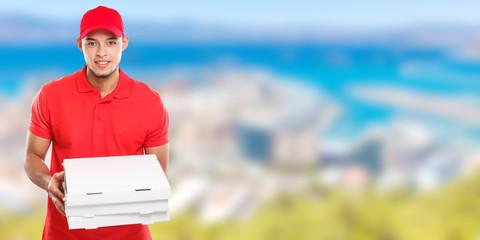 Pizzabote liefern Pizza Bote bestellen Bestellung Lieferung Beruf Mann Latino Banner Textfreiraum Copyspace
