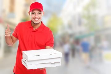 Pizzabote liefern Pizza Bote bestellen Bestellung Lieferung Beruf lachen Erfolg erfolgreich Stadt Textfreiraum Copyspace