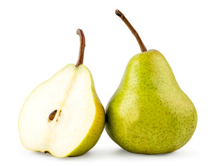 Green pear and half close - up on a white. Isolated.