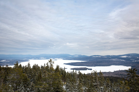 View of Rangeley Lake from the summit of Bald Mountain.