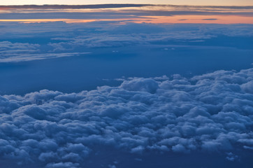 Beautiful Cloudscape Scene at Sunset from Airplane