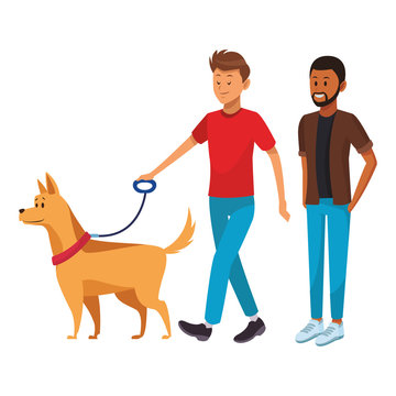 afroamerican man and man with dog