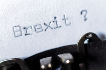 Word Brexit typed on typewriter