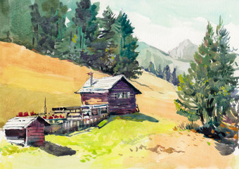 watercolor hand drawn cottage on hill