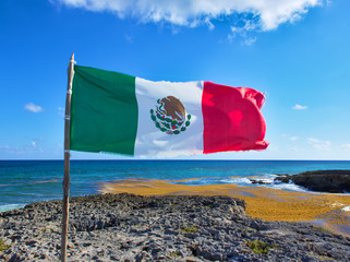 Sunny day. Marine coral and sharp stones. Flag of mexico in paradise. Mexican flag. Seaweed floating on the sea. Cozumel southern tip ( El Mirador )