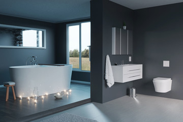 3d rendering of of luxury grey bathroom with free standing bathtub and candle lights