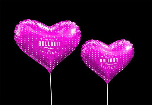 Two Metallic Heart Balloons Mockup
