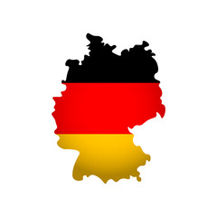 Vector isolated simplified illustration icon with silhouette of Germany map. National Deutsch flag (black, red, gold colors). White background