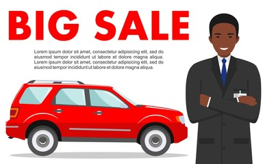 Car showroom. Big sale. Manager sells new automobile. Detailed illustration of african american businessman and red auto on white background in flat style.