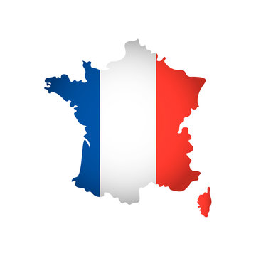Vector isolated simplified illustration icon with silhouette of France map. National French flag (blue, white, red colors). White background