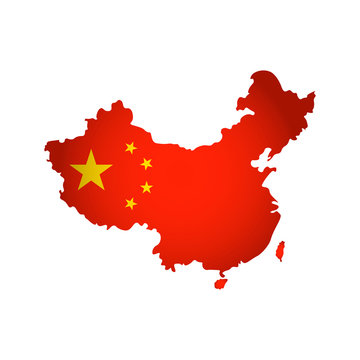 Vector isolated simplified illustration icon with silhouette of China map. National Chinese flag with stars (red, yellow colors). White background