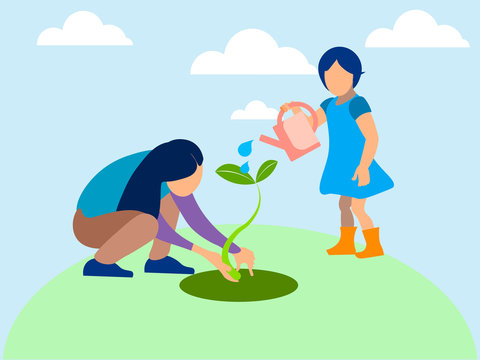 Mom and daughter planted a plant, agronomy. In minimalist style. Flat isometric vector