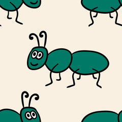 Seamless pattern with cute cartoon doodle linear ant isolated on background. Vector illustration.