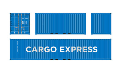 Blue Shipping Cargo Container for Logistics and Transportation Isolated On White Background Vector Illustration Easy To Change