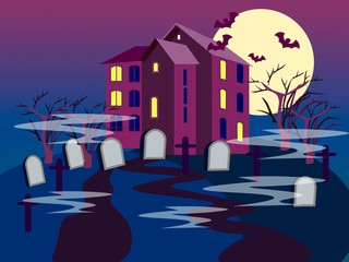 The building of the cemetery. Graves on a dark background. In minimalist style. Flat isometric vector