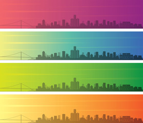 Detroit Multiple Color Gradient Skyline Banner
