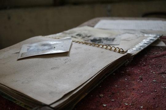 Dusty abandoned notebook