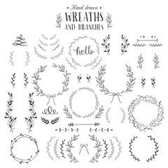 Collection of hand drawn laurels, wreaths and branches.