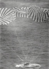 """The Apollo 9 Command Module """"Gumdrop"""" splashes down in the Atlantic"""