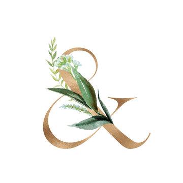 Gold Floral Alphabet - ampersand & with botanic branch bouquet composition. Unique collection for wedding invites decoration & other concept ideas.