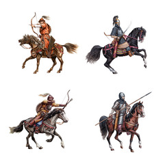 Medieval mounted knights. Heavy armored magyar (hungarian) riders.