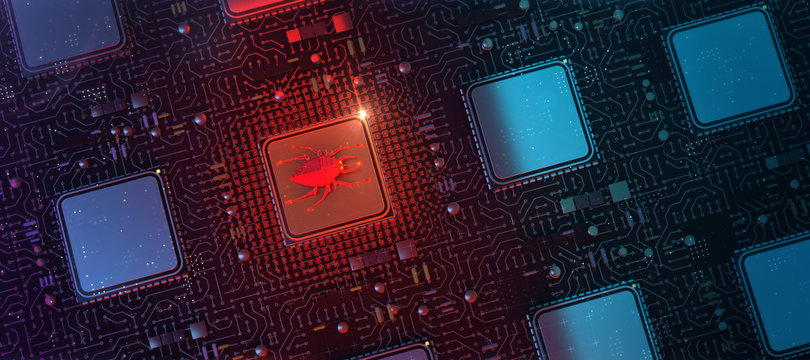 red glowing compiter bug on infected chip in cyberspace 3d redner. spyware, malware, virus trojan, keylogger, hacker attack illustration