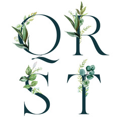 Green Floral Alphabet Set - letters Q, R, S, T with botanic branch bouquet composition. Unique collection for wedding invites decoration and many other concept ideas.