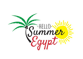 Hello Summer in Egypt Logo, Wording Design, Wall Decals, Art Decor, T-shirt Design, Hat Design, Cup Design. Vector. Palm Three and Sun Illustration, Isolated Logo on white background